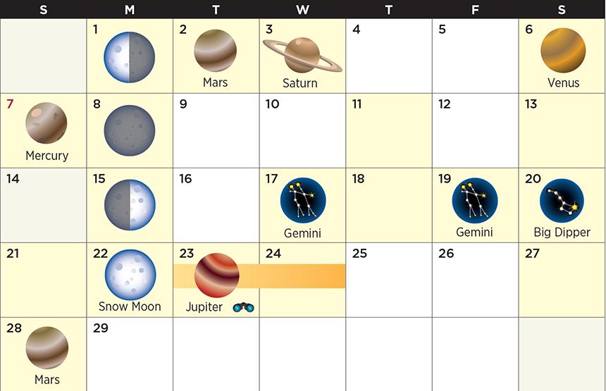 Star calendar for February 2016