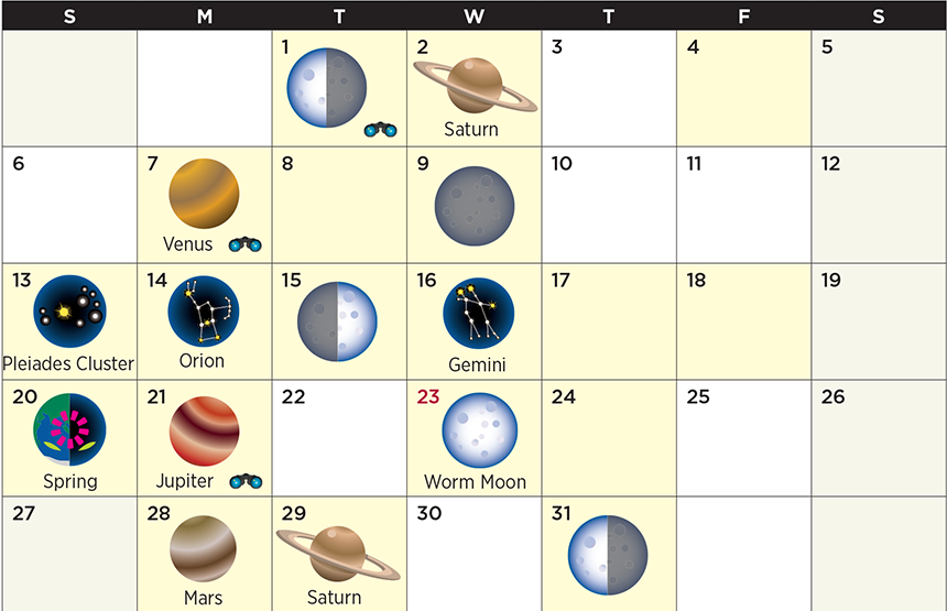 Star calendar for March 2016