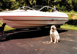 Nero with Michael D'Aversa's 17-foot Bayliner