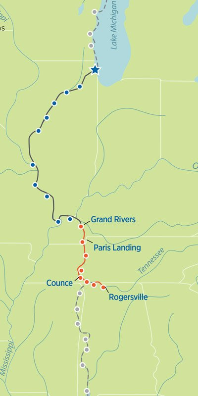 Great Loop Map Grand Rivers, KY, to Rogersville, AL