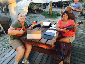 Jamming on the ukuleles at Fly Creek