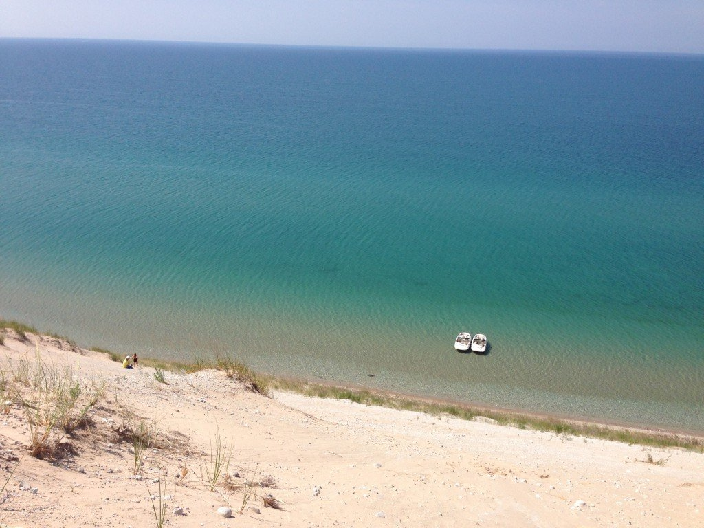Two Sea Rays Anchored Below Sleeping Bear Dunes on Lake Michigan by Tim Healey