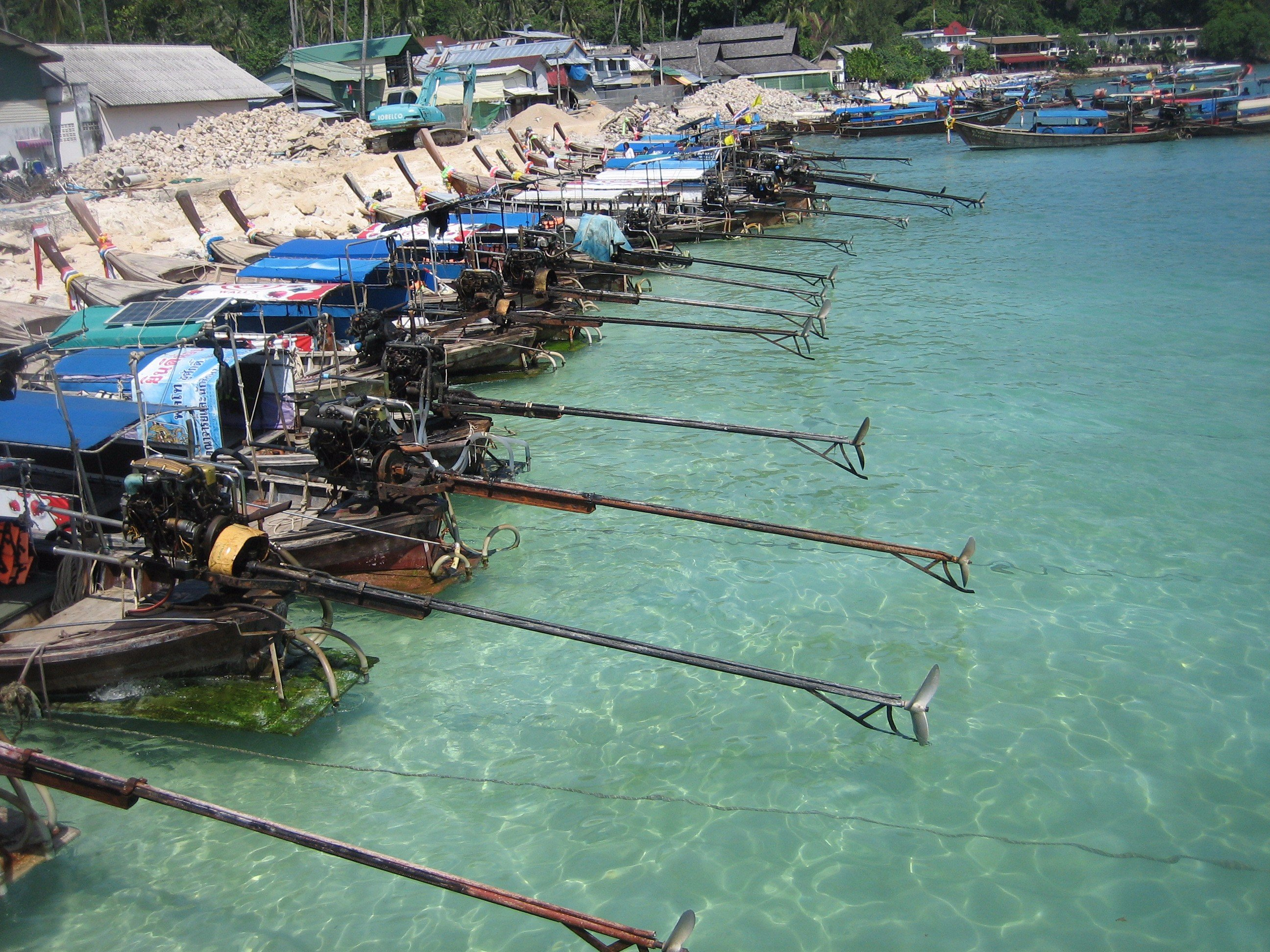 Long-tail boats are the main means of transportation in the Andaman Sea.