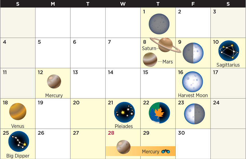 Star calendar for September 2016