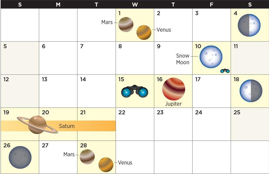 February 2017 star calendar