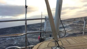 Photo of storm clouds and stormy seas taken from sailboat