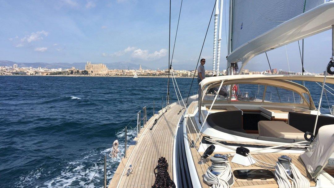 Sailing into a Storm Leaving Mallorca, Spain