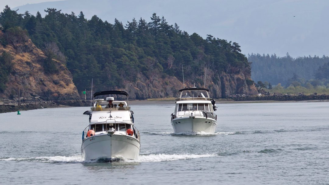 Photo of boats transiting the Swinomish Channel