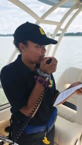 photo of youth learning to use a vhf radio