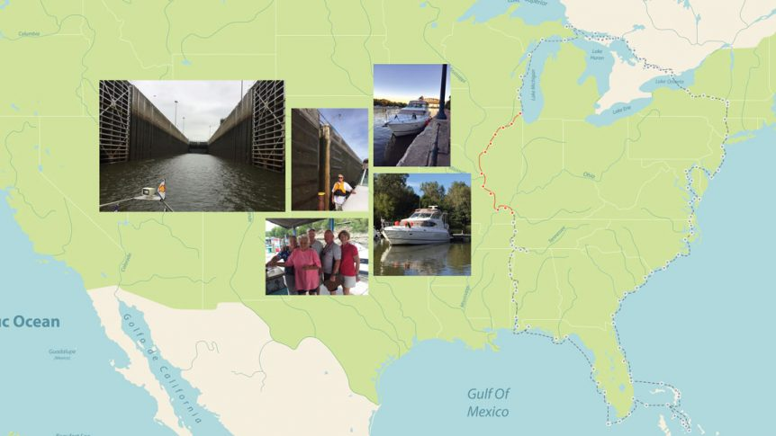 Photo of America's Great Loop Map with inset photos of locks, boats and people