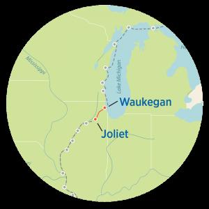 Great Loop Map from Waukegan to Joliet