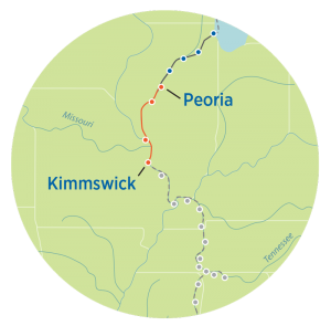 Great Loop Map from Peoria to Kimmswick
