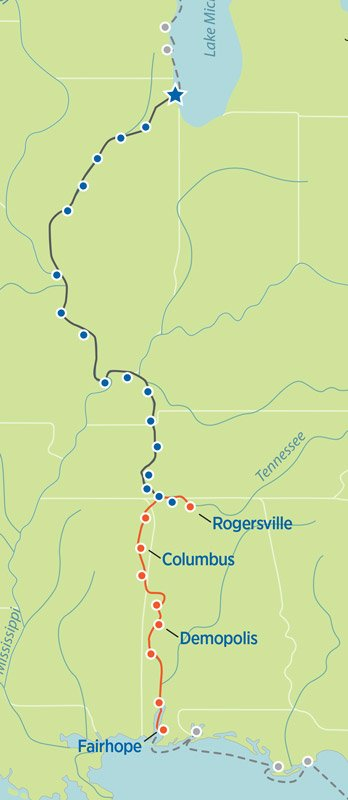 Great Loop Map Rogersville, AL, to Fairhope, AL