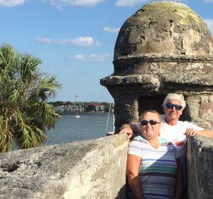 Cruisers John and Priscilla visit the Castillo de San Marcos, in Saint Augustine, Florida